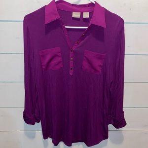Chico's purple collared half button shirt